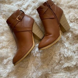 Tan ankle booties - only worn once! Size 7.5